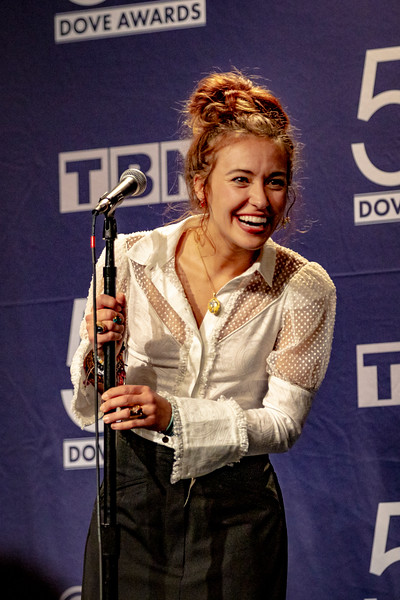 Lauren Daigle answering questions in the Press Room at the 50th Annual GMA Dove Awards at Allen Arena, Lipscomb University on October 15, 2019 in Nashville, Tennessee. (Photo by Annette Holloway)