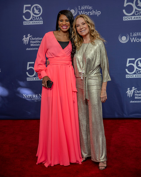 Kathie Lee Gifford and Nicole Mullin on the red carpet for the 50th Annual GMA Dove Awards at Allen Arena, Lipscomb University on October 15, 2019 in Nashville, Tennessee. (Photo by Annette Holloway)