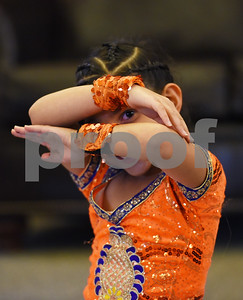 Jeeya Prasad, 6, poses at the beginning of a dance at The Heights of Tyler May 12, 2016. Several children involved in the Indian Association of East Texas performed for the senior citizens at The Heights.  (Sarah A. Miller/Tyler Morning Telegraph)