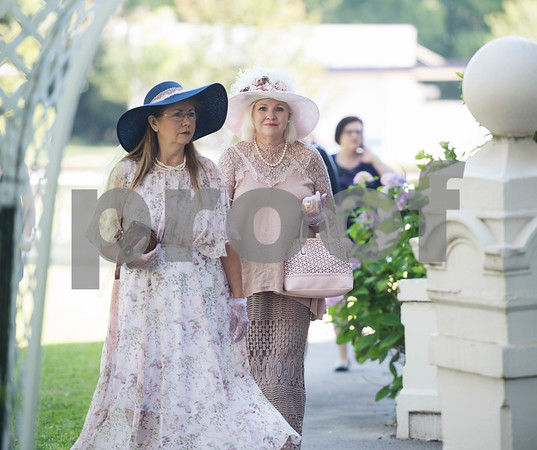 Gail Dooley of Winona and Pat Commander of Gladewater arrive for the 7th Annual Mother's Day Tea at Walker Manor Bed & Breakfast in Gladewater Saturday May 13, 2017.  (Sarah A. Miller/Tyler Morning Telegraph)