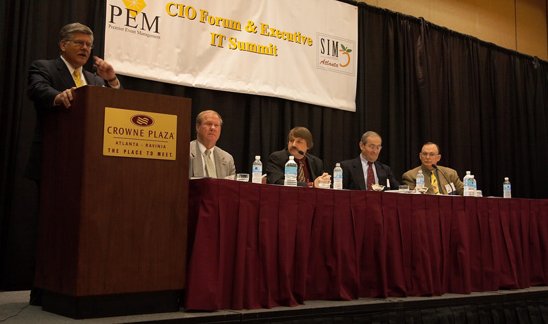 Panelists (l-r): Larry Clark, CIO, Randstad; Jay Terrell, Asst. Director of IT, Fulton County Information Technology; Stan Vik, CIO, Johnson Industries; Russ Brown, Director IT, Russell Corporation