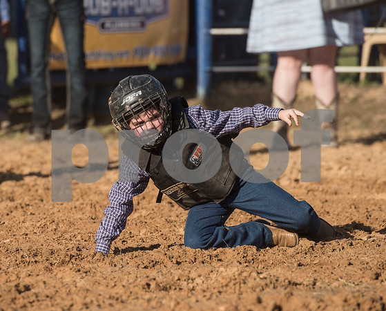 A child competes in the mutton bustin' competition at the Lindale Championship Rodeo on Thursday May 17, 2018.  (Sarah A. Miller/Tyler Morning Telegraph)