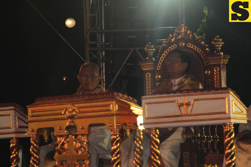 Cebu Archbishop Jose Palma and Papal legate Charles Maung Cardinal Bo during IEC Benediction at Plaza Independencia