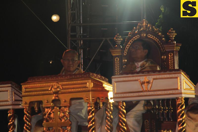 Cebu Archbishop Jose Palma and Papal legate Charles Maung Cardinal Bo during IEC Benediction at Plaza Independencia