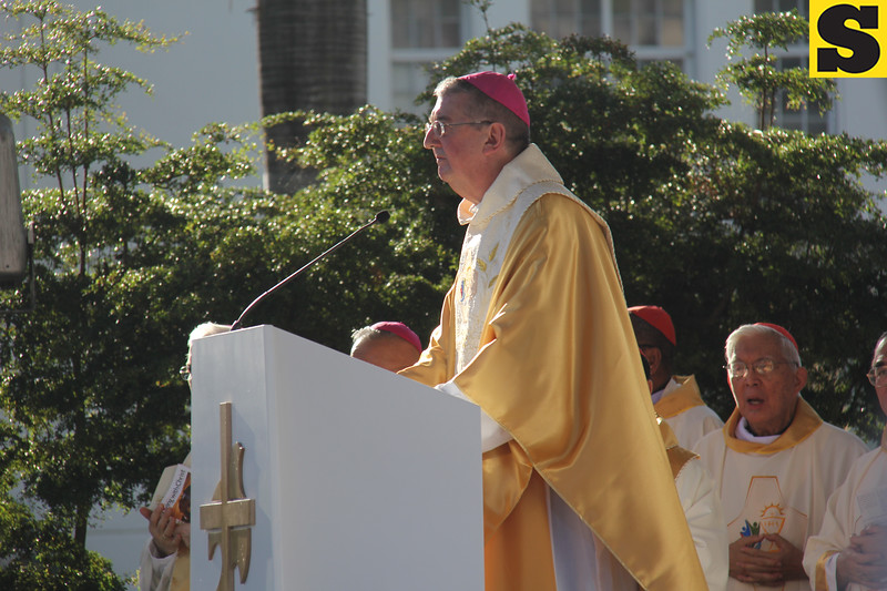 Dublin Archbishop Diarmund Martin prepares for the homily during IEC Capitol mass