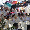 Bishops and priests armed with umbrellas during IEC Capitol Mass