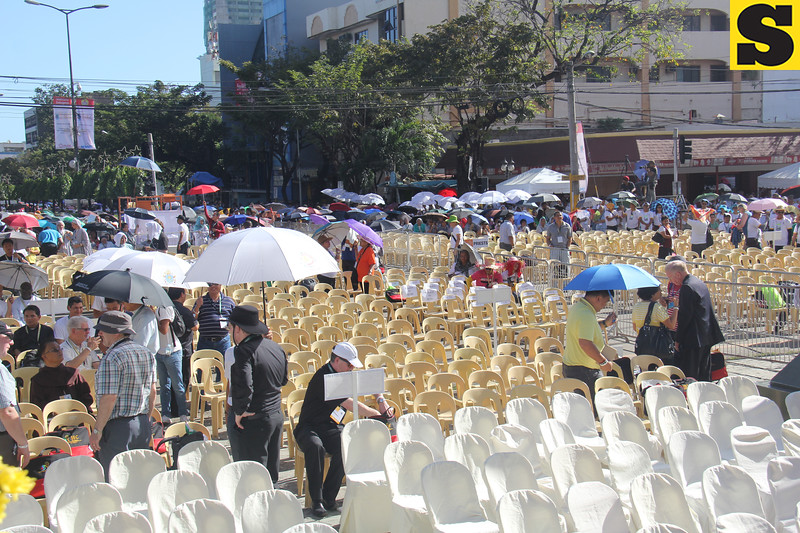 Chairs remain vacant hours before the IEC mass at the Cebu Capitol