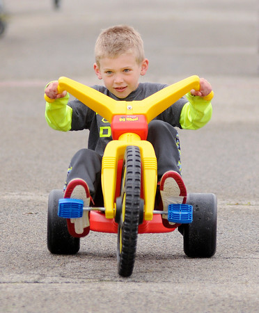Don Knight | The Herald Bulletin<br /> Jaxton Hiles, 6, was the overall winner in the Cross Street Pay Less Big Wheel Race on Saturday.