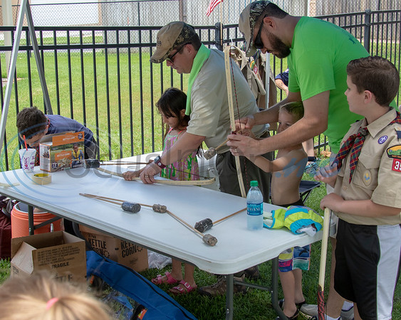 Adults from Pack 359 of Whitehouse give instruction in bow and arrow shooting at the  Whitehouse 'Freedom In The Park' day on Memorial Day, May 25, 2019, at the Whitehouse City Park, Whitehouse, Tx. (Rick Flack Photo)