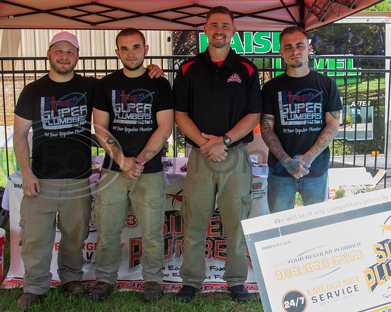 Super Plumbers, (L-R) Brandon Korenkov, Matthew Good, Adam Gipson, and Brandon Coffey, at the Whitehouse 'Freedom In The Park' day on Memorial Day, May 25, 2019, at the Whitehouse City Park, Whitehouse, Tx. (Rick Flack Photo)