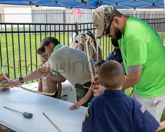 Adults from Pack 359 in Whitehouse give instruction in Bow and Arrow shooting at the Whitehouse 'Freedom In The Park' day on Memorial Day, May 25, 2019, at the Whitehouse City Park, Whitehouse, Tx. (Rick Flack Photo)