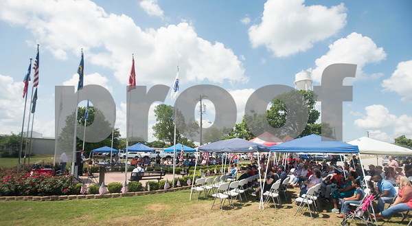 People attend a Memorial Day ceremony at the Lindale Veterans Memorial in Lindale on Monday May 28, 2018. The event was hosted by the Lindale Veterans Memorial Committee and Lindale American Legion Post 15. Memorial Day is observed to remember people who served in United States armed forces and died during their service.   (Sarah A. Miller/Tyler Morning Telegraph)