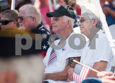 Gold Star mother Nancy Smith of Lindale, at right, attends the Memorial Day ceremony held at the Lindale Veterans Memorial in Lindale on Monday May 28, 2018. Smith's son died in a training accident in the Army. The event was hosted by the Lindale Veterans Memorial Committee and Lindale American Legion Post 15. Memorial Day is observed to remember people who served in United States armed forces and died during their service.   (Sarah A. Miller/Tyler Morning Telegraph)