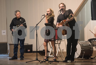"Ronnie ""The Mouse"" Weiss, Megan Magill and Matt Magill perform at the subject marker dedication celebration for the Mayfair Building Wednesday May 31, 2017 in Tyler.  (Sarah A. Miller/Tyler Morning Telegraph)"