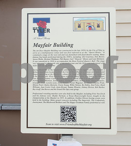 The subject marker is unveiled for the Mayfair Building Wednesday May 31, 2017 in Tyler.  (Sarah A. Miller/Tyler Morning Telegraph)