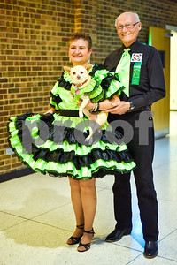 President Nora Creed-McClaskey and her husband Roger pose for a photo with her service dog Zoe during the 56th Annual Square and Round Dance Festival hosted by the Texas State Federation of Square and Round Dancers at Harvey Convention Center in Tyler, Texas, on Thursday, May 31, 2018. The theme of the festival is Dancing is Good in the Piney Woods. (Chelsea Purgahn/Tyler Morning Telegraph)