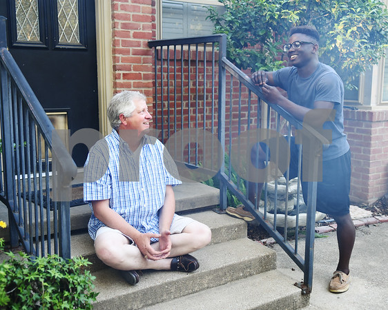 Volunteer Art Reilly talks with John Tyler High School student Paul Williams, 15, during Young Life Wednesday night May 4, 2016 in Tyler. Young Life Tyler is an organization that seeks to share God's love with kids through the simple act of being present in their lives. Tyler Young Life is the longest consecutive running young life club in the world and has grown.    (Sarah A. Miller/Tyler Morning Telegraph)