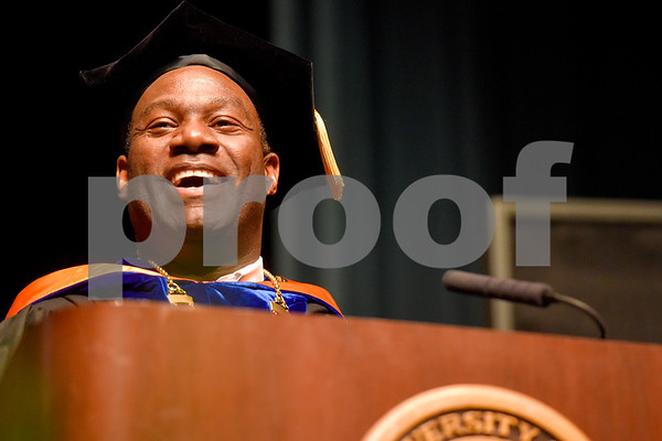 UT Tyler President Dr. Michael Tidwell smiles during the University of Texas at Tyler's commencement ceremony at UT Tyler in Tyler, Texas, on Friday, May 4, 2018. More than 1,200 graduates received degrees. (Chelsea Purgahn/Tyler Morning Telegraph)