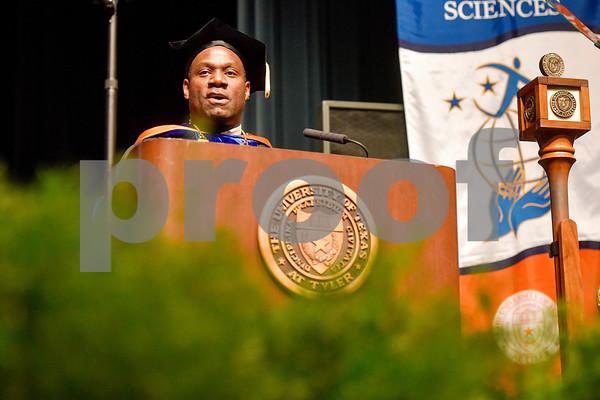 UT Tyler President Dr. Michael Tidwell speaks during the University of Texas at Tyler's commencement ceremony at UT Tyler in Tyler, Texas, on Friday, May 4, 2018. More than 1,200 graduates received degrees. (Chelsea Purgahn/Tyler Morning Telegraph)