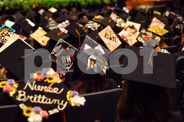 Graduates' caps during the University of Texas at Tyler's commencement ceremony at UT Tyler in Tyler, Texas, on Friday, May 4, 2018. More than 1,200 graduates received degrees. (Chelsea Purgahn/Tyler Morning Telegraph)