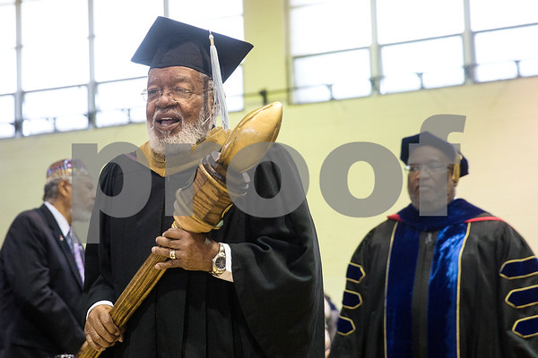 Dr. John F. Johnson walks in the processional during Jarvis Christian College's commencement at Jarvis Christian College in Hawkins, Texas, on Saturday, May 5, 2018. Jesse J. Holland, race and ethnicity writer for the Associated Press, gave the keynote address, and Jamie Foxx received an honorary doctorate degree from the college. (Chelsea Purgahn/Tyler Morning Telegraph)