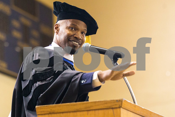 Jamie Foxx speaks during Jarvis Christian College's commencement at Jarvis Christian College in Hawkins, Texas, on Saturday, May 5, 2018. Jesse J. Holland, race and ethnicity writer for the Associated Press, gave the keynote address, and Foxx received an honorary doctorate degree from the college. (Chelsea Purgahn/Tyler Morning Telegraph)
