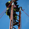 65' Ladder Raise Tribute. SFFD FF Bomani climbs to the top in Tribute to Johnny V & Greg Wyman.