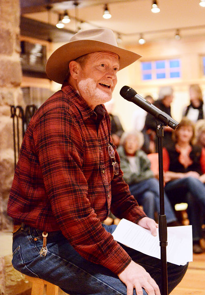 Justin Sheely | The Sheridan Press<br /> Local author Craig Johnson shares a Christmas Longmire short story during the 5th annual Ucross Christmas Celebration at the Raymond Plank Creative Center at Ucross Saturday, Dec. 9, 2017.