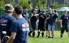 North Penn  Fire Company members celebrate after defeating FDMT in a tug-of-war competition during the 14th annual Montgomery County Fifth Fire District Water Battle held at the Towamencin Firehouse on Saturday morning July 12,2014.Photo by Mark C Psoras/The Reporter