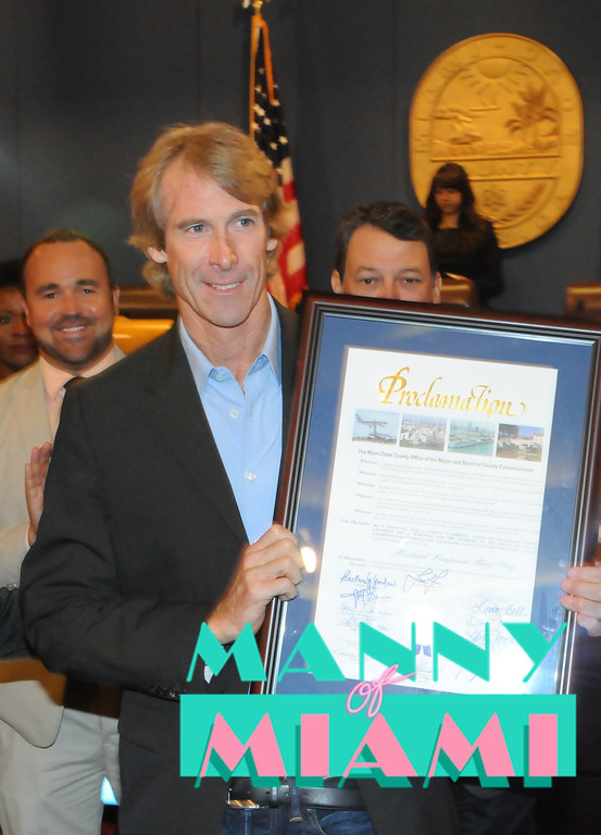 MIAMI, FL--JUNE 5, 2012--Mega movie director Michael Bay receives proclamation from Miami-Dade County proclaiming June 5, 2012, Michael Bay Day in Miami. (Photo by Manny Hernandez)