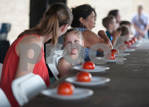 Riley York, 5, of Jacksonville, competes in the tomato peeling contest despite missing her front teeth during the Jacksonville Tomato Fest Saturday June 11, 2016 in Jacksonville, Texas. In its 32nd year, the week-long festival included tomato themed events such as a salsa contest,  best homegrown tomato contest and eating contest as well as other activities such as a murder mystery dinner, ski show and dodgeball tournament.  (Sarah A. Miller/Tyler Morning Telegraph)