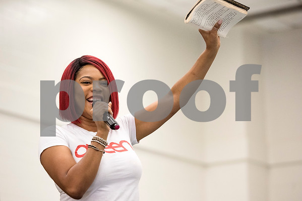 """Brooklyn Tankard of Bravo's """"Thicker Than Water"""" speaks during the East Texas Hair and Beauty Expo Hair at Harvey Hall Convention Center in Tyler, Texas, on Monday, June 12, 2017. The expo featured vendors and products from across the South. (Chelsea Purgahn/Tyler Morning Telegraph)"""