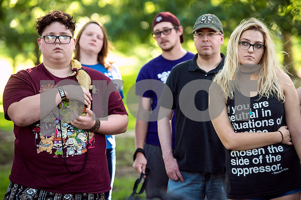 People listen during a memorial honoring victims of the Orlando Pulse nightclub shooting in Tyler, Texas, on Monday, June 12, 2017. Monday marked the one year anniversary of the deadliest mass shooting in modern U.S. history. (Chelsea Purgahn/Tyler Morning Telegraph)