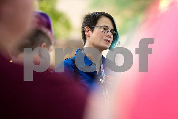 Samantha Dwight listens during a memorial honoring victims of the Orlando Pulse nightclub shooting in Tyler, Texas, on Monday, June 12, 2017. Monday marked the one year anniversary of the deadliest mass shooting in modern U.S. history. (Chelsea Purgahn/Tyler Morning Telegraph)