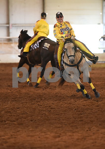 Mabank resident Andrea Pickens of the The Ghostrider's  senior quad team rides during Super Ride XIV 2016 International Festival Of The Equestrian Arts held at Texas Rose Horse Park in Lindale June 15, 2016. The event continues through Saturday and features equestrian drill team and trick riding competitions.   (Sarah A. Miller/Tyler Morning Telegraph)