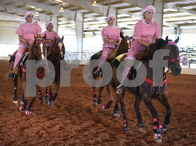 The Saltgrass Riders perform with a 1920s Matagorda County Texas beach babe theme during Super Ride XIV 2016 International Festival Of The Equestrian Arts held at Texas Rose Horse Park in Lindale June 15, 2016. The event continues through Saturday and features equestrian drill team and trick riding competitions. Pictured from left: Shelley Clark, Cathy Merck, Brandy Guidry and Cindy Tennant.  (Sarah A. Miller/Tyler Morning Telegraph)
