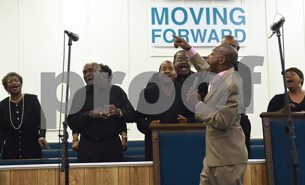 The Peoples Missionary Baptist Church Gospel Chorus performs at the 8th annual Gospel Explosion held by the Juneteenth Association of Tyler at Peoples Missionary Baptist Church Friday June 17, 2016.  (Sarah A. Miller/Tyler Morning Telegraph)