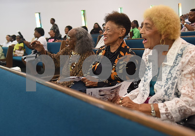 Evelyn Buffin, Emogene Shaw and Bernice Jones attend the 8th annual Gospel Explosion held by the Juneteenth Association of Tyler at Peoples Missionary Baptist Church Friday June 17, 2016.  (Sarah A. Miller/Tyler Morning Telegraph)
