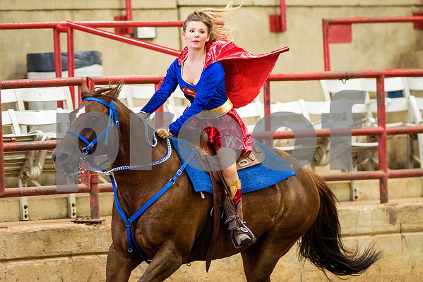 Payton Henisey competes during the quadrille competition at Super Ride XV at Henderson County Regional Fair Park Complex in Athens, Texas, on Wednesday, June 21, 2017. The event features a variety of equestrian competitions such as trick riding and vaulting. (Chelsea Purgahn/Tyler Morning Telegraph)