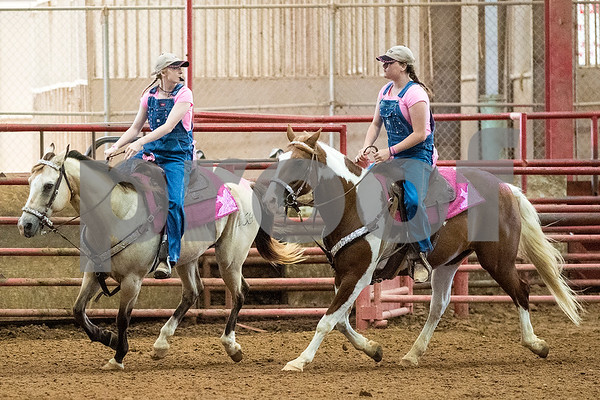 People compete during the quadrille competition at Super Ride XV at Henderson County Regional Fair Park Complex in Athens, Texas, on Wednesday, June 21, 2017. The event features a variety of equestrian competitions such as trick riding and vaulting. (Chelsea Purgahn/Tyler Morning Telegraph)
