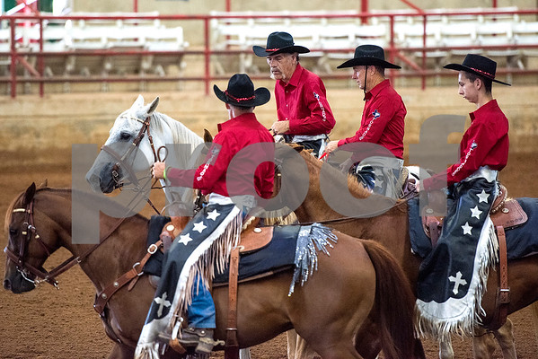The Texas Tornadoes compete during the quadrille competition at Super Ride XV at Henderson County Regional Fair Park Complex in Athens, Texas, on Wednesday, June 21, 2017. The event features a variety of equestrian competitions such as trick riding and vaulting. (Chelsea Purgahn/Tyler Morning Telegraph)