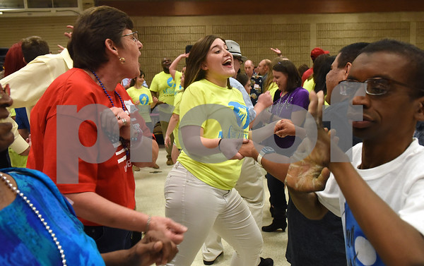 "Cast members of the Tyler Civic Theatre's ""The Little Mermaid"" dance with attendees at the Fun Lover's Dance for The Arc of Smith County Thursday night June 23, 2016. The Arc is an organization that promotes and protects the human rights of people with intellectual and developmental disabilities and supports their full inclusion and participation in the community. ""The Little Mermaid"" play runs July 28-31 August 4-14.  (Sarah A. Miller/Tyler Morning Telegraph)"