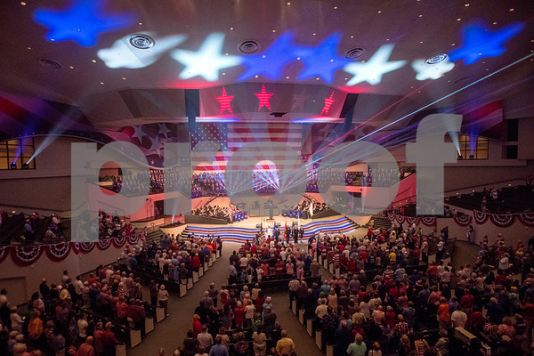 "The grand finale of the 27th annual ""I Love America"" program at Green Acres Baptist Church in Tyler, Texas, on Friday, June 23, 2017. The show featured patriotic tunes and Christian worship songs to celebrate Independence Day. (Chelsea Purgahn/Tyler Morning Telegraph)"