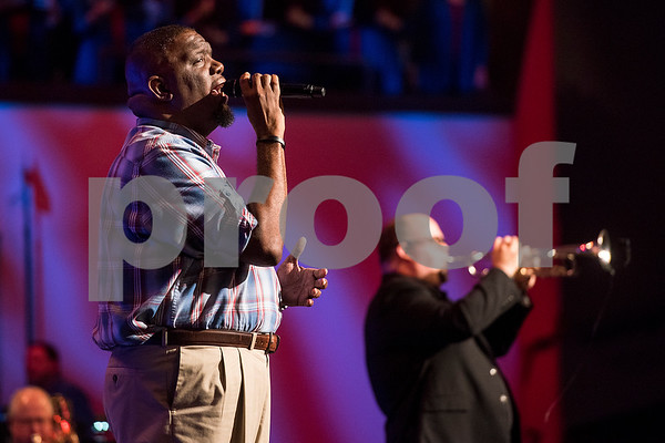 "Chris Timmons sings during the 27th annual ""I Love America"" program at Green Acres Baptist Church in Tyler, Texas, on Friday, June 23, 2017. The show featured patriotic tunes and Christian worship songs to celebrate Independence Day. (Chelsea Purgahn/Tyler Morning Telegraph)"