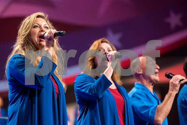 "People sing during the 27th annual ""I Love America"" program at Green Acres Baptist Church in Tyler, Texas, on Friday, June 23, 2017. The show featured patriotic tunes and Christian worship songs to celebrate Independence Day. (Chelsea Purgahn/Tyler Morning Telegraph)"