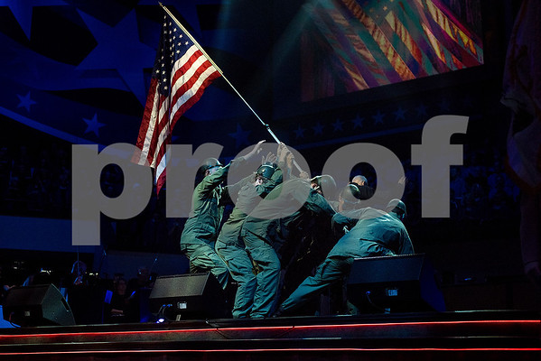 "People reenact the iconic Iwo Jima photo during the 27th annual ""I Love America"" program at Green Acres Baptist Church in Tyler, Texas, on Friday, June 23, 2017. The show featured patriotic tunes and Christian worship songs to celebrate Independence Day. (Chelsea Purgahn/Tyler Morning Telegraph)"