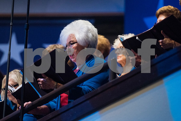 """Choir members sing during the 27th annual """"I Love America"""" program at Green Acres Baptist Church in Tyler, Texas, on Friday, June 23, 2017. The show featured patriotic tunes and Christian worship songs to celebrate Independence Day. (Chelsea Purgahn/Tyler Morning Telegraph)"""