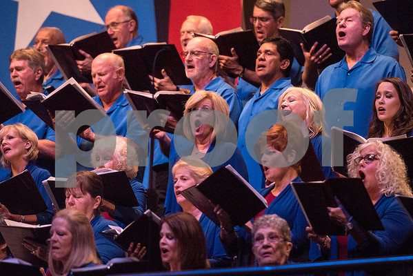 "Choir members sing during the 27th annual ""I Love America"" program at Green Acres Baptist Church in Tyler, Texas, on Friday, June 23, 2017. The show featured patriotic tunes and Christian worship songs to celebrate Independence Day. (Chelsea Purgahn/Tyler Morning Telegraph)"