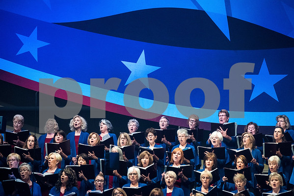 "The choir sings during the 27th annual ""I Love America"" program at Green Acres Baptist Church in Tyler, Texas, on Friday, June 23, 2017. The show featured patriotic tunes and Christian worship songs to celebrate Independence Day. (Chelsea Purgahn/Tyler Morning Telegraph)"