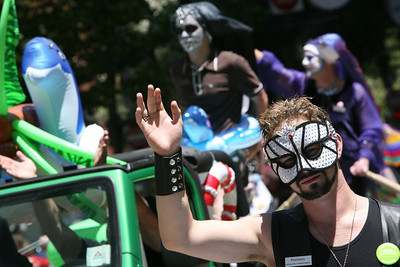 Members of the Sisters of Perpetual Indulgence, a gay community rights group of men dressed as nuns with elaborately decorated faces, parades down market streets.  The Theme of this yearÕs Pride Parade was, ÒPride Not Prejudice.Ó   The event, which has been running every year consecutively since 1972 under various names, was expected to reach 1 million attendees this year.  Hundreds of Parade contingents paraded 9 blocks down Market Street from Beale St to 8th street.  Contingents ranged from corporate sponsors, to regional ethnic dance groups and everything in between, all in support of the Gay, Lesbian and Transgender community.  Even SF Mayor Gavin Newsom had his own contingent in the parade as he jogged along shaking hands with people in the public.